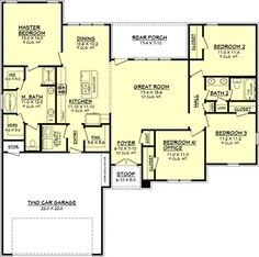 House Plan 041-00065 - French Country Plan: 1,725 Square Feet, 4 Bedrooms, 2.5…