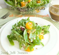 Spinach & Arugula Salad {with Orange Balsamic Vinaigarette} - Family Table Treasures