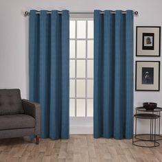 """George Oliver Wardsboro Solid Semi-Sheer Grommet Curtain Panels Size: 54"""" W x 96"""" L, Color: Mallard Blue"""