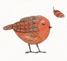 Bird No.36 - Bird Art Print, Limited Edition - Watercolor Painting by Lorisworld. $15.00, via Etsy.