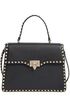 VALENTINO Rockstud Leather Satchel. #valentino #bags #shoulder bags #hand bags #leather #satchel #