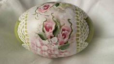 Hand Painted Egg Gourd Cottage Chic Roses Hydrangeas Victorian Shabby Lace HP | eBay
