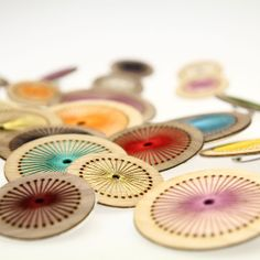 Hand embroidered, laser cut wooden brooch -by Jane Blease Design