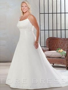 2013 Style A-line Spaghetti Straps Embroidery Sleeveless Court Trains Satin Wedding Dress For Brides at Storedress.com