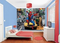 46 Lovely Superhero Bedroom Design for Boy Boys Bedroom Themes, Bedroom Styles, Kids Bedroom, Bedroom Designs, Childrens Bedroom, Bedroom Ideas, Bedroom Inspiration, Bedroom Wall, Master Bedroom