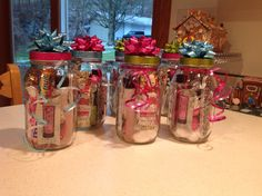 Mason jar gift idea for girls. Fill jar with lip gloss, nail polish, travel size polish remover, cotton balls, bath bombs, candy.