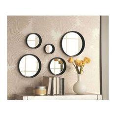 Set de 5 Miroirs Ronds Noirs - Diam.  de 10 à 25cm