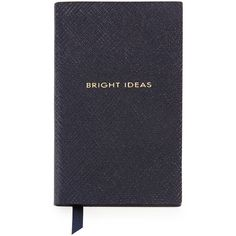 """Smythson """"Bright Ideas"""" Wafer Notebook ($64) ❤ liked on Polyvore featuring home, home decor, stationery, books, fillers, notebooks, accessories and navy"""