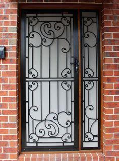 Black Birch White Cast Grill Security Door