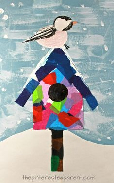 christmas art Mixed media art birdhouse with chickadee or a cardinal - Use tissue paper, acrylics, watercolors, crayons, markers or construction paper to build this pretty winter / Christmas scene. Kids and preschoolers arts and crafts Winter Art Projects, Winter Crafts For Kids, Projects For Kids, Winter Preschool Crafts, Preschool Art Projects, Winter Kids, Spring Crafts, January Art, January Crafts