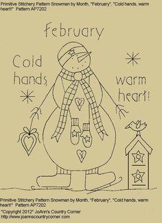 Primitive Stitchery EPattern Snowman by by JoAnnCountryCorner