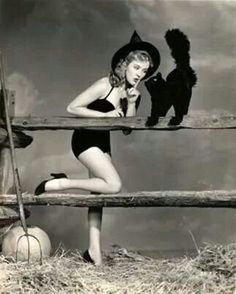 Pin Up Girl PRINT Halloween Brunette Wearing Black Stockings Garters Witch Broom