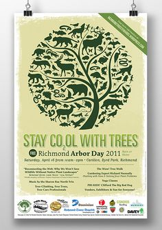 Stay Cool with Trees Arbor Day poster design   by Stefanie Lutz