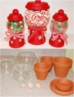DIY Clay Pot Christmas Candy Jars Don't you just love Christmas crafts? There is just something so fun about making decorations for the holidays. I always try to do a few different DIY Christmas decorations every year so that means that Homemade Christmas Gifts, Homemade Gifts, Christmas Fun, Christmas Ornaments, Diy Christmas Projects, Christmas Presents, Handmade Christmas, Diy Christmas Crafts To Sell, Christmas Candy Crafts
