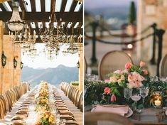 hanging chandeliers, incredible view, seating arrangements.