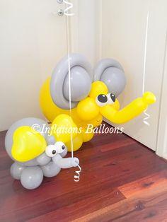 Lucas the Elephant Elephant Balloon, Elephant Party, Elephant Birthday, Balloon Animals, Jungle Balloons, Baby Shower Balloons, Baby Shower Parties, Baby Boy Shower, Balloon Columns