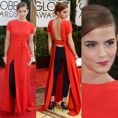 Red Christian Dior gown - open at the back - which she teamed with a pair of black leggings (Emma Watson ~ The 71st Annual Golden Globe Awards)