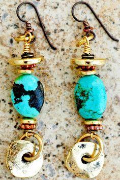 Turquoise Earrings | Gold | Copper | Dangle | XO Gallery | XO Gallery