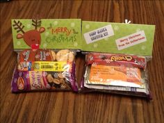 """Boy Scout """"Camp Alaska Survival Kit"""" Came up with this idea to give the Scouts in our Troop as Christmas gifts. Bags are filled with a hand warmer, packet of hot chocolate and various energy giving snacks. Picked up the reindeer bags at Hobby Lobby."""