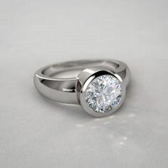 Yes:  Bezel Set Round Diamond Engagement Ring in 14k White Gold
