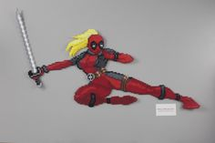 Perler and Artkal fuse bead Marvel Lady Deadpool by Manic Made Geekery