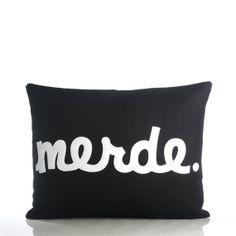 MERDE hemp canvas felt applique pillow 14x by alexandraferguson