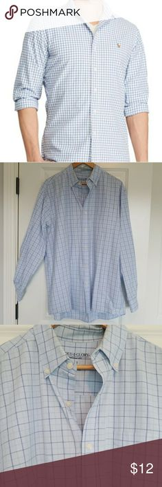 Blue and White Button Down Mens size XLT Classic checkered button down. Worn once and has a slight stain on one cuff unnoticeable when worn or sleeved rolled up, but price reflects damage nonetheless Shirts Casual Button Down Shirts