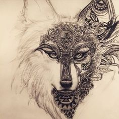 Working on this spirit animal wolf/fox design for a tattoo: