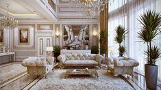 mobilier baroque capitonné de velours blanc et tapis shaggy assorti