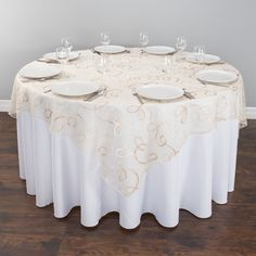 Ivory Embroidered Web Organza Overlays For 6 Ft Tables At Linentablecloth Our Beautiful Table Overlay Takes The Subtlety Of Sheer Delicate To A