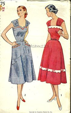 Vintage Pattern 1950s Sweetheart Neckline Wide Strap by sydcam123 sundress day dress house gingham black white red scallop