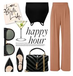 """Happy Hour"" by smartbuyglasses-uk ❤ liked on Polyvore featuring Fleur du Mal, Boohoo, Yves Saint Laurent, STELLA McCARTNEY, black and happyhour"