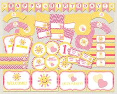my little sunshine Birthday Pack, sunshine pink birthday pack, pink and yellow party pack, girls Bir Baby Shower Printables, Party Printables, Baby Shower Invitations, Birthday Invitations, Birthday Thank You, Pink Birthday, Birthday Party Decorations, Birthday Parties, Sunshine Birthday