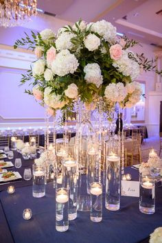 From Real Kleinfeld Bride | Navy table setting with pink and white flowers | blog.kleinfeldbridal.com/ | In His Image Photography