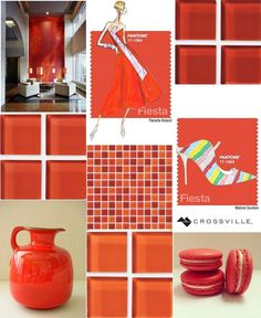 It's a high energy #MosaicMonday this week with a nod t # Pantone's # Fiesta one of the fresh new hues from the Spring Color Report. This strong and fiery yellow-based red is a harbinger of excitement providing a stark contrast to the calming softer nature of this seasons palette and pairing well with Pantone's Snorkel Blue Green Flash and Limpet Shell. //#mosaics #instadesign #instadecor #tiled #tiling #tilework #walltile #glasstile #archilovers #interior #interiors #interiordesign…