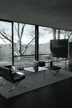 Photographs from a recent Sunday stroll through the unequivocal jewel in Philip Johnson's architectural crown (and a jewel, by any measure): Glass House, New Canaan, Connecticut. Black Bedroom Design, Black Interior Design, Interior And Exterior, Architecture 101, Beautiful Architecture, Philip Johnson Glass House, Dream Mansion, Modern Mansion, Dark Interiors