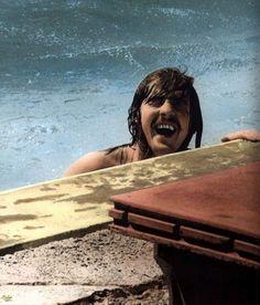 http://custard-pie.com/ John Bonham smiling and swimming
