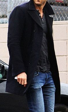 Pea coat and jeans