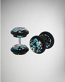 Blue Black Speckle Fake Plug Set