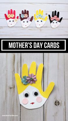 Mother's Day handprint cards for kids to make. Easy Mother's Day handprint craft for preschoolers and older kids. Diy Gifts For Kids, Mothers Day Crafts For Kids, Diy Mothers Day Gifts, Fathers Day Crafts, Diy For Kids, Baby Crafts, Toddler Crafts, Preschool Crafts, Easy Mother's Day Crafts