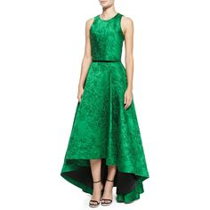 Alice Olivia Kesten Embroidered Sateen Crop Top Cohe Embroidered... (€735) ❤ liked on Polyvore featuring skirts, crop skirt, green skirt, dip hem skirt, green high low skirt and high-low skirt