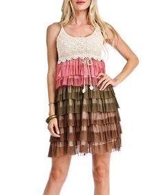 Loving this Rose & Brown Tiered Shift Dress on #zulily! #zulilyfinds