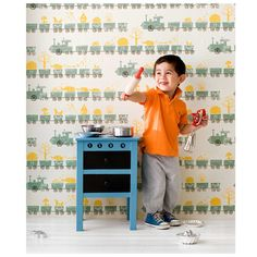 This Tiny Train wallpaper from ferm Living is the ideal finishing touch in your kid's room. It's made using WallSmart quality, which is an innovative material that is easier and faster to install than conventional wallpaper. Ferm Living Wallpaper, Train Wallpaper, Kids Wallpaper, Room Wallpaper, Wallpaper Designs, Travel Systems For Baby, Scandinavian Nursery, Nursery Accessories, Girl Rooms