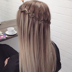 half updo with waterfall braid