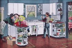 1950 Youngstown Kitchens    This cute image shows the sister flirting with the delivery boy while the brother does dishes.