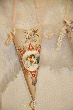 Wings of Whimsy: 12 Days of Christmas Cones - DAY 7 - free printable #vintage #victorian #shabby #chic #ephemera