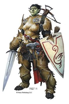 Irabeth - Half-Orc Paladin from the forthcoming Pathfinder Adventure Path 73 - The Worldwound Incursion