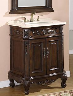 """SUPER SALE!!! Save 23% on this30"""" Single Sink Bathroom Vanity Cabinet with Cream Marble Top from Icafurniture. Originally $649.99, but for limited time $499.99."""