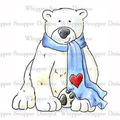 Polar Bear - Cute Valentine for this COLD winter we're having Christmas Wood, Christmas Crafts, Polar Bear Drawing, Bear Clipart, Winter Art, Fall Winter, Christmas Paintings, Rock Crafts, Watercolor Cards
