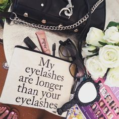 { My eyelashes are longer than your eyelashes }  Loving this @pamelabarsky make up bag from our lash girlfriend @ebllashes  Thank you for the goodies Lindy  we are obsessed!